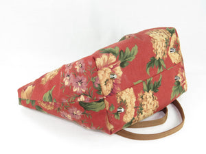 Autumn Floral Print on Canvas Tote Style Handbag bottom view