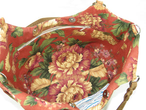 Autumn Floral Print on Canvas Tote Style Handbag interior