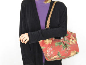 Autumn Floral Print on Canvas Tote Style Handbag on model