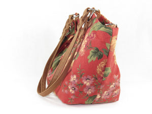 Autumn Floral Print on Canvas Tote Style Handbag side view