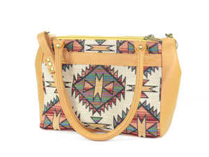 Aztec Tapestry and Leather Satchel Handbag back side