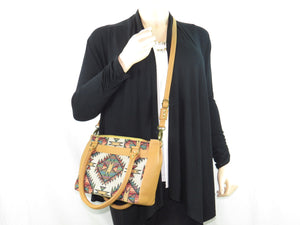 Aztec Tapestry and Leather Satchel Handbag cross body strap
