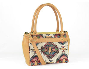 Aztec Tapestry and Leather Satchel Handbag