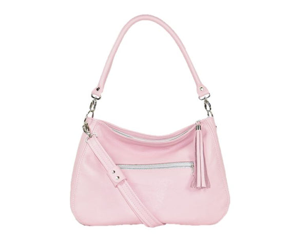 Baby Pink Leather Slouchy Hobo Handbag