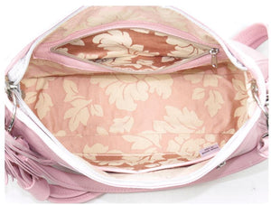Baby Pink Leather Slouchy Hobo Handbag interior view