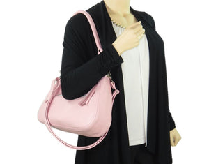 Baby Pink Leather Slouchy Hobo Handbag model view