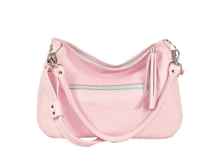 Baby Pink Leather Slouchy Hobo Handbag relaxed handle view