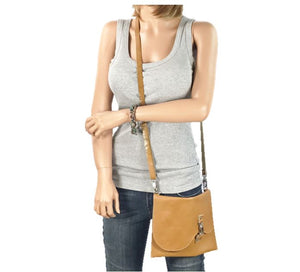 Basic Leather Cross Body Golden Tan model