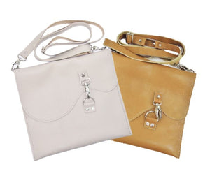 Basic Leather Cross Body Light Grey and Golden Tan