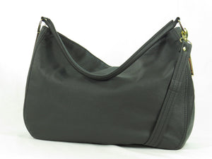 Basic Black Leather Slouchy Hobo back view 2