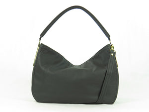 Basic Black Leather Slouchy Hobo back view