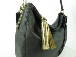 Basic Black Leather Slouchy Hobo hardware closeup