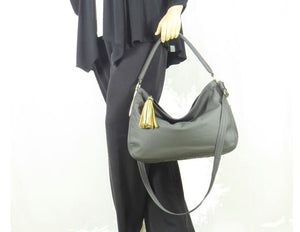 Basic Black Leather Slouchy Hobo model 1