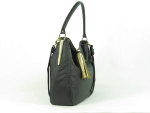 Basic Black Leather Slouchy Hobo side view