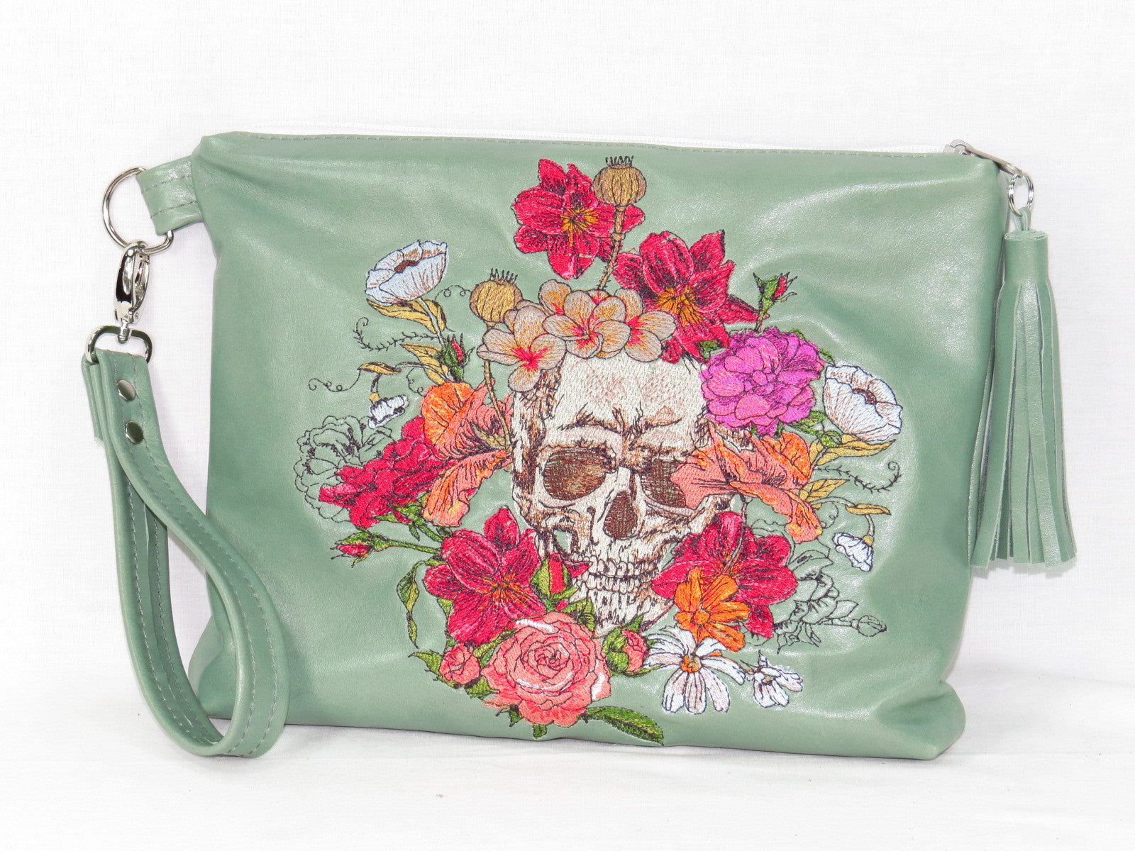 Bed of Flowers Mint Green Zipper Clutch