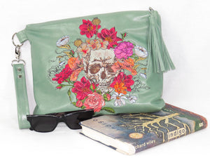 Bed of Flowers Mint Green Zipper Clutch collage