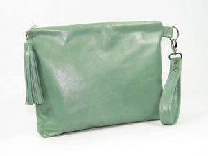 Bed of Flowers Mint Green Zipper Clutch back view with wrist strap and tassel