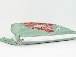Bed of Flowers Mint Green Zipper Clutch zipper closure