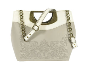 Beige and Ivory Tone-on-tone Leather Purse