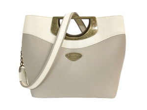 Beige and Ivory Tone-on-tone Leather Purse back view