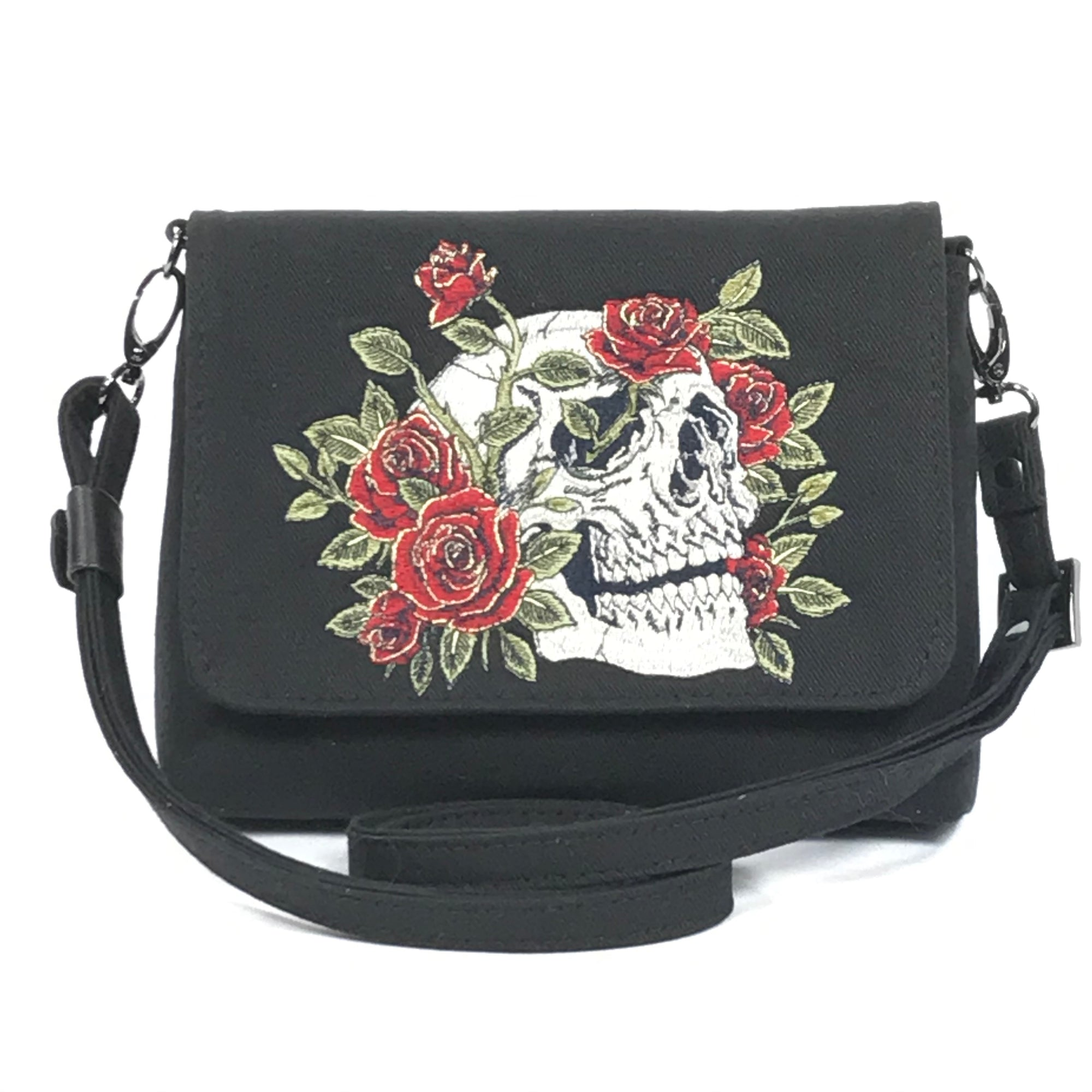 Black Denim Skull and Roses Mini Flap Bag