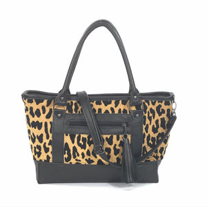Black Leather and Leopard Chenille Tapestry Zipper Tote