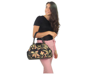 Black Leather and Tapestry Butterfly Mary Poppins Bag Bella view