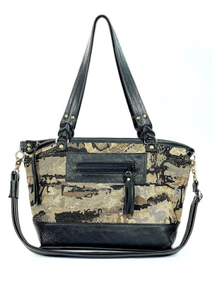 Black Leather and Tapestry Tote Handbag