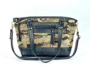 Black Leather and Tapestry Tote Handbag handles down view