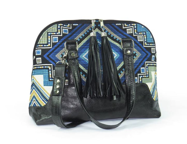 Black Leather Blue Diamond Bowler Bag