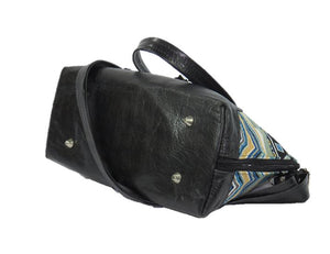 Black Leather Blue Diamond Bowler Bag base view
