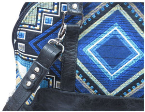 Black Leather Blue Diamond Bowler Bag hardware view