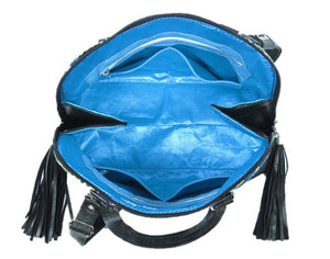 Black Leather Blue Diamond Bowler Bag interior view