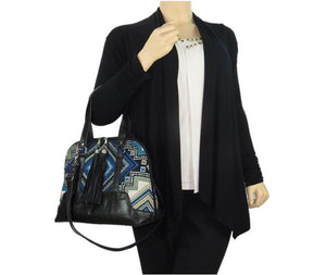 Black Leather Blue Diamond Bowler Bag model view