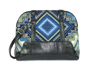 Black Leather Blue Diamond Bowler Bag opposite side view