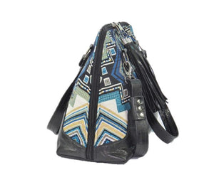 Black Leather Blue Diamond Bowler Bag side view