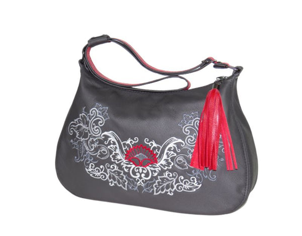 Black Leather Gothic Embroidered Classic Hobo Bag