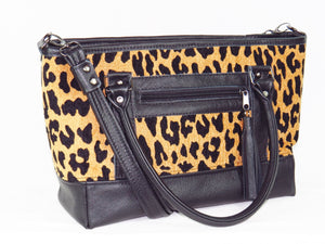 Black Leather and Leopard Chenille Tapestry Zipper Tote cord handles