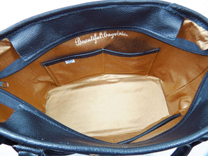 Black Leather and Leopard Chenille Tapestry Zipper Tote interior pockets