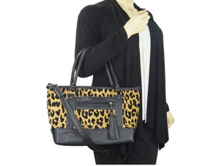 Black Leather and Leopard Chenille Tapestry Zipper Tote model view