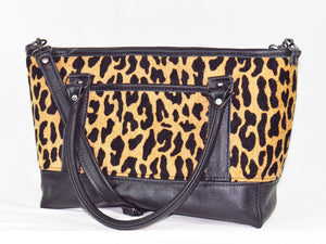 Black Leather and Leopard Chenille Tapestry Zipper Tote open pocket side