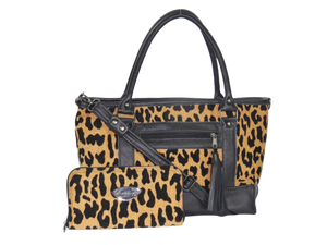 Black Leather and Leopard Chenille Tapestry Zipper Tote with companion wallet