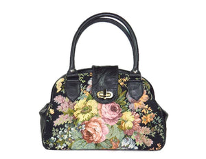 Black Leather and Rose Bouquet Tapestry Doctor Bag