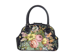 Black Leather and Rose Bouquet Tapestry Doctor Bag back view