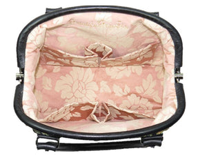 Black Leather and Rose Bouquet Tapestry Doctor Bag interior view