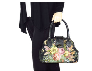 Black Leather and Rose Bouquet Tapestry Doctor Bag model view