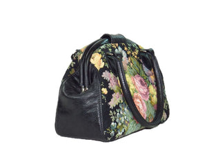Black Leather and Rose Bouquet Tapestry Doctor Bag side view