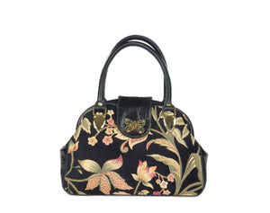 Black Leather and Tapestry Butterfly Doctor Bag