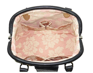 Black Leather and Tapestry Butterfly Doctor Bag interior view