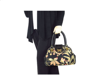 Black Leather and Tapestry Butterfly Doctor Bag model view